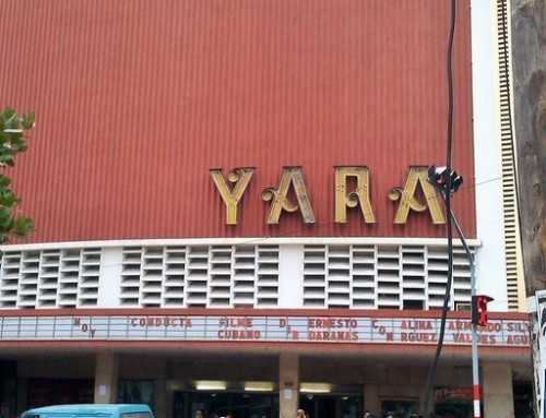 Cinema Yara in Vedado. Popular cheap theater and meeting place.