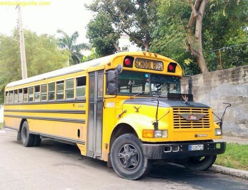 School buses used for public transportation in Cuba