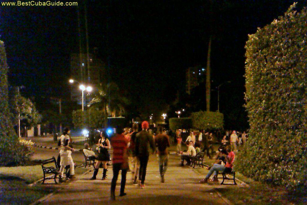 young people on 23 street night havana vedado